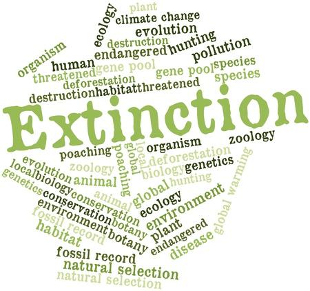 Nube palabra abstracta para la Extinción de etiquetas y términos relacionados