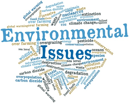 environmental issues: Abstract word cloud for Environmental Issues with related tags and terms
