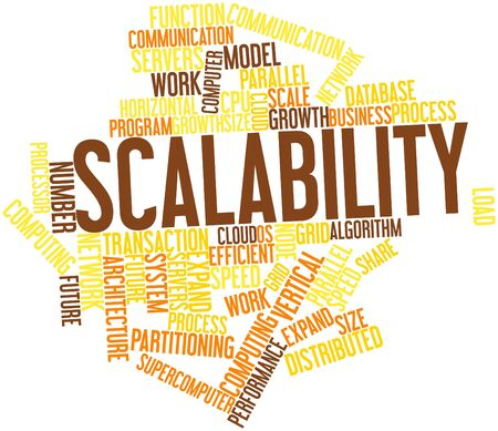 Word cloud astratto per Scalabilit� con tag correlati e termini photo