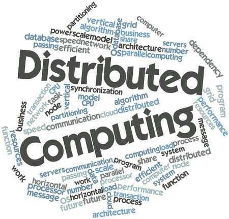 Abstract word cloud for Distributed Computing with related tags and terms photo
