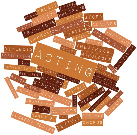 extensive marine: Abstract word cloud for Acting with related tags and terms Stock Photo