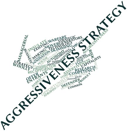 atrophy: Abstract word cloud for Aggressiveness strategy with related tags and terms