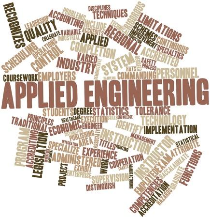 eligible: Nube palabra abstracta para la ingenier�a aplicada con etiquetas y t�rminos relacionados Foto de archivo