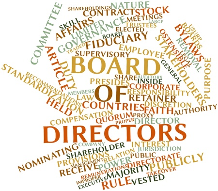 attend: Abstract word cloud for Board of directors with related tags and terms