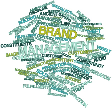 widely: Abstract word cloud for Brand management with related tags and terms Stock Photo