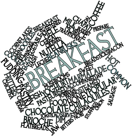 buddist: Abstract word cloud for Breakfast with related tags and terms Stock Photo