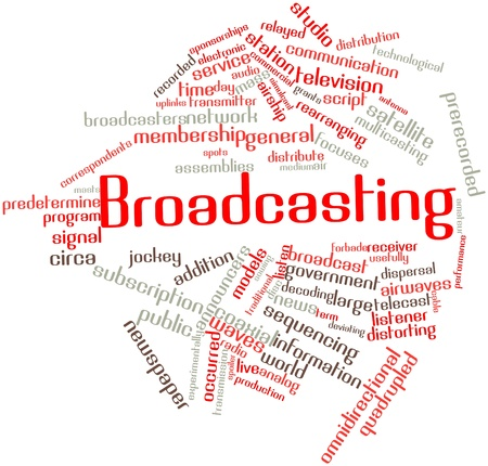 dissemination: Abstract word cloud for Broadcasting with related tags and terms