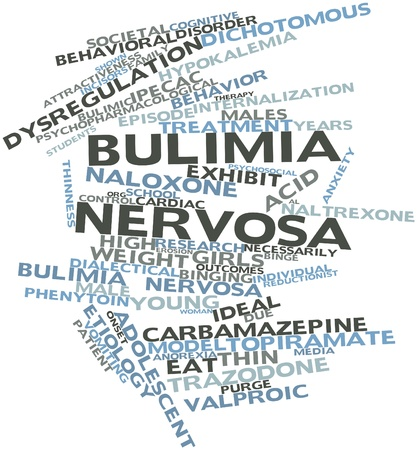 characterizing: Abstract word cloud for Bulimia nervosa with related tags and terms Stock Photo