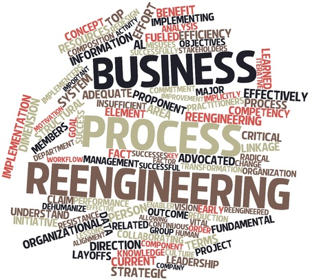 Abstract word cloud for Business process reengineering with related tags and terms