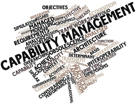 Abstract word cloud for Capability management with related tags and terms