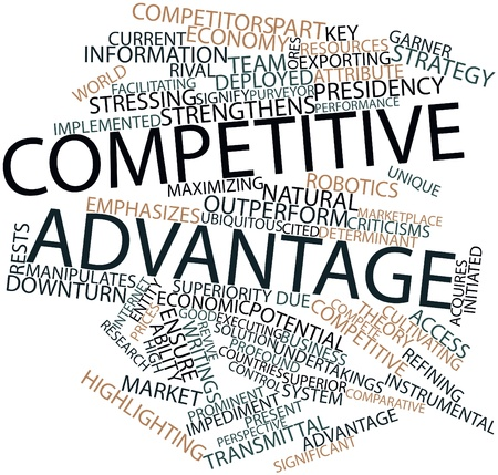 Abstract word cloud for Competitive advantage with related tags and terms photo
