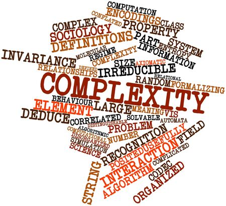 interdependence: Abstract word cloud for Complexity with related tags and terms Stock Photo