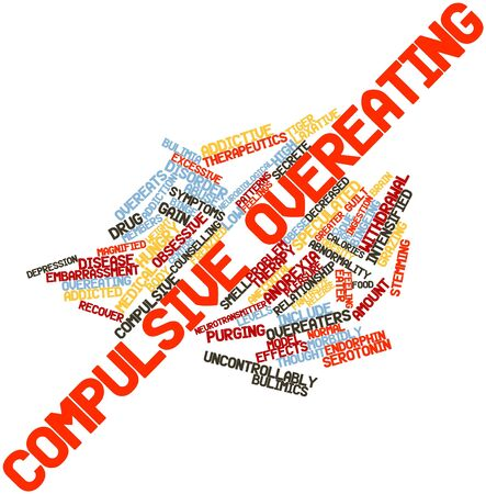 laxative: Abstract word cloud for Compulsive overeating with related tags and terms Stock Photo
