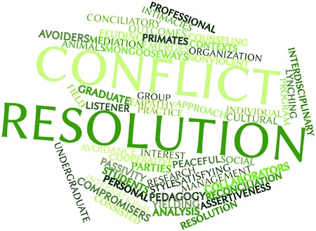 nonviolent: Abstract word cloud for Conflict resolution with related tags and terms Stock Photo