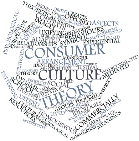 marketing research: Abstract word cloud for Consumer culture theory with related tags and terms Stock Photo