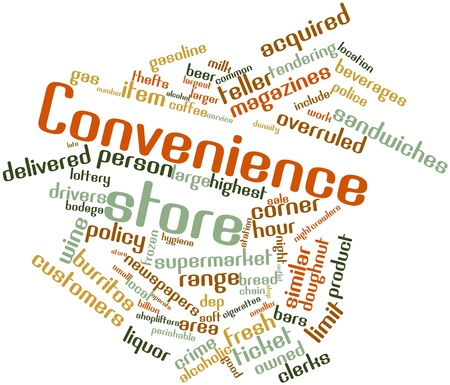 convenience store: Abstract word cloud for Convenience store with related tags and terms