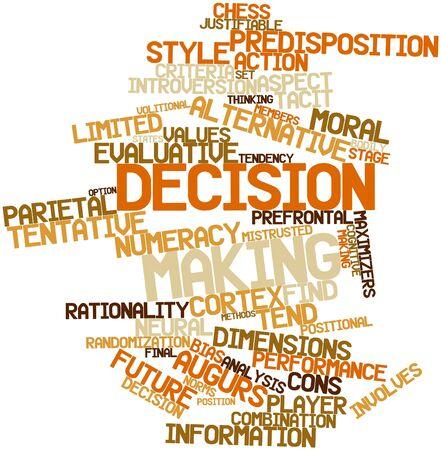 valores morales: Nube palabra abstracta para la toma de decisiones con las etiquetas y términos relacionados