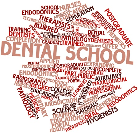 educations: Abstract word cloud for Dental school with related tags and terms
