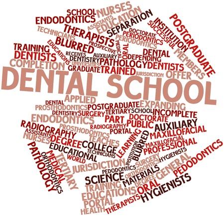 prosthodontics: Word cloud astratto per la scuola dentale con tag correlati e termini