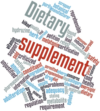 supplement: Abstract word cloud for Dietary supplement with related tags and terms
