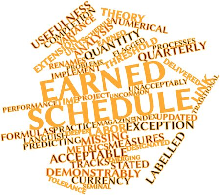 missing link: Abstract word cloud for Earned schedule with related tags and terms Stock Photo