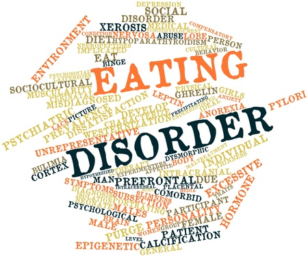 Abstract word cloud for Eating disorder with related tags and terms photo