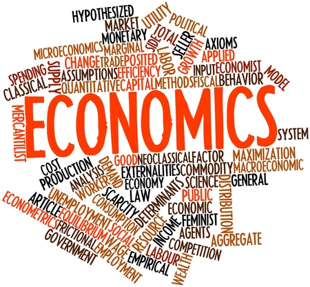 Abstract word cloud for Economics with related tags and terms photo