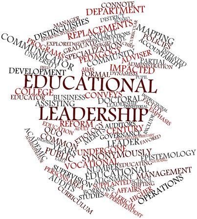 supervisión: Nube palabra abstracta para el liderazgo educativo con las etiquetas y términos relacionados Foto de archivo