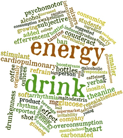 refrain: Abstract word cloud for Energy drink with related tags and terms