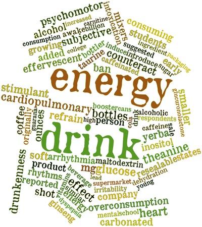 bebidas alcohÓlicas: Nube palabra abstracta para bebida de la energía con las etiquetas y términos relacionados Foto de archivo