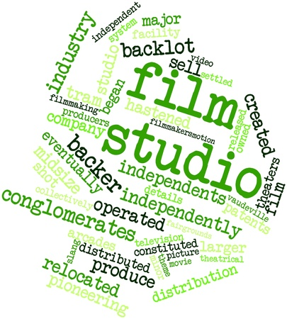 settled: Abstract word cloud for Film studio with related tags and terms