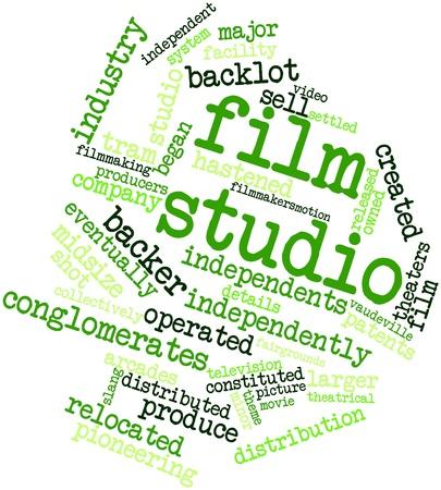 eventually: Word cloud astratto per studio cinematografico con tag correlati e termini