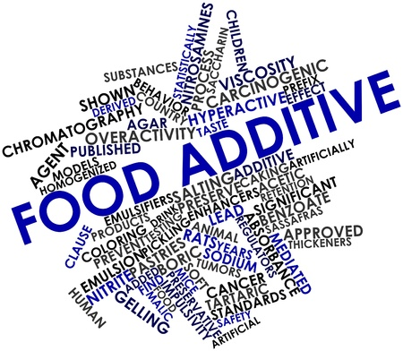 prefix: Abstract word cloud for Food additive with related tags and terms Stock Photo