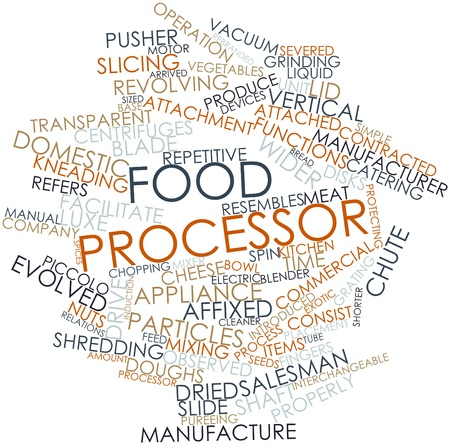 kneading: Abstract word cloud for Food processor with related tags and terms Stock Photo