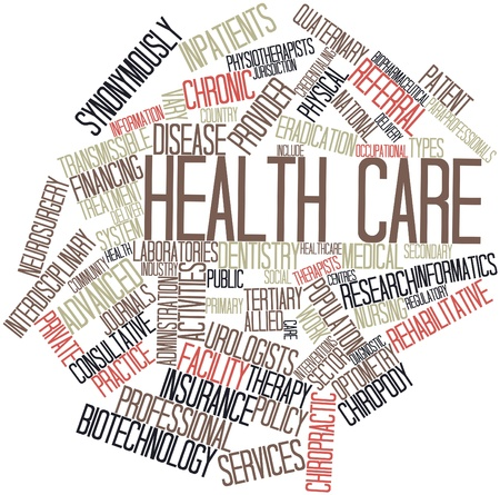 Abstract word cloud for Health care with related tags and terms photo