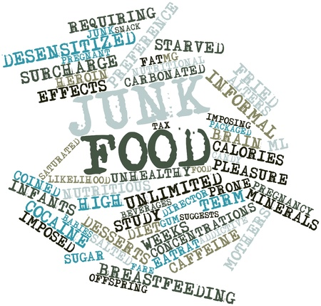 Abstract word cloud for Junk food with related tags and terms photo