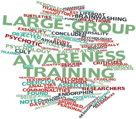 criticizes: Abstract word cloud for Large-group awareness training with related tags and terms