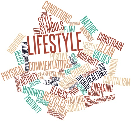 healthier: Abstract word cloud for Lifestyle with related tags and terms