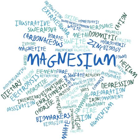 magnesium: Abstract word cloud for Magnesium with related tags and terms Stock Photo