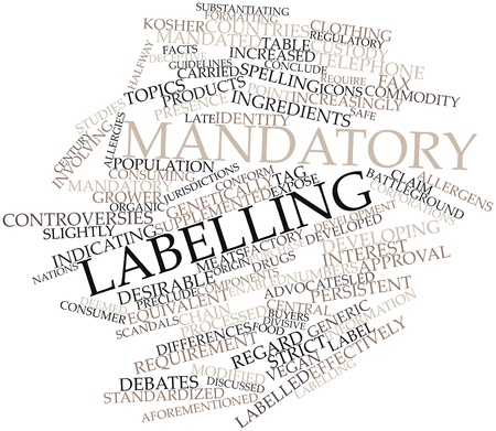 meats: Abstract word cloud for Mandatory labelling with related tags and terms Stock Photo