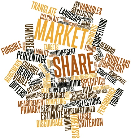 share market: Abstract word cloud for Market share with related tags and terms