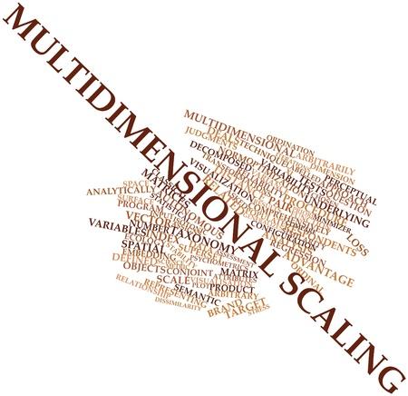 arbitrario: Nube palabra abstracta por escalamiento multidimensional con las etiquetas y términos relacionados