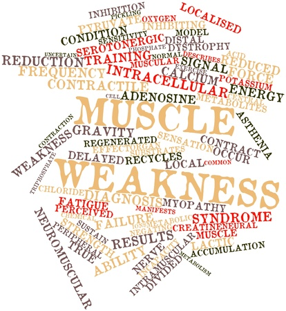 manifests: Abstract word cloud for Muscle weakness with related tags and terms