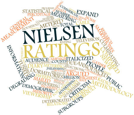 Abstract word cloud for Nielsen ratings with related tags and terms Stock Photo - 15995924