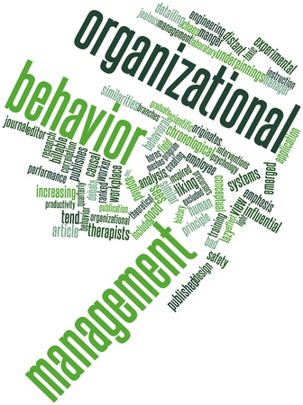 causal: Abstract word cloud for Organizational behavior management with related tags and terms Stock Photo