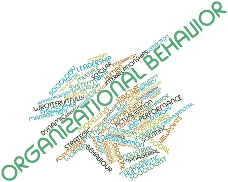 Abstract word cloud for Organizational behavior with related tags and terms Banco de Imagens