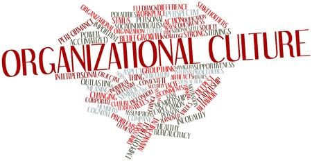 Abstract cloud słowo kultura organizacyjna z powiązanymi tagów oraz warunków