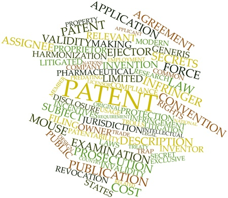Abstract word cloud for Patent with related tags and terms Stock Photo - 15995928