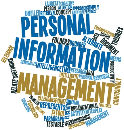 validating: Abstract word cloud for Personal information management with related tags and terms Stock Photo