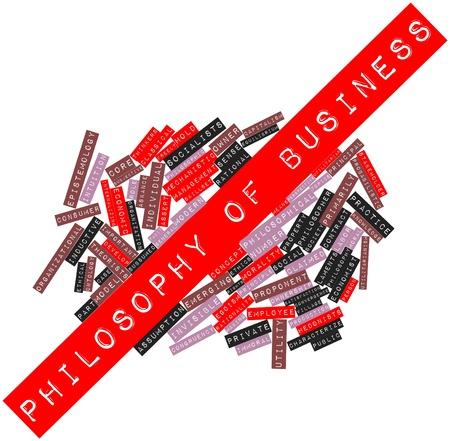 characterize: Nube de palabras Resumen de Filosof�a de la empresa con las etiquetas y t�rminos relacionados Foto de archivo